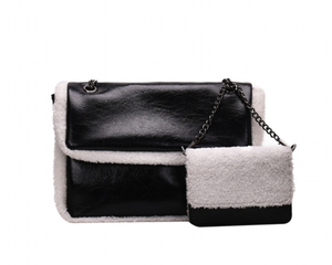 La Mia Cara  - Black Babetta - Imitation Lamb Wool Shoulder Designer Handbag & Purse