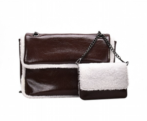La Mia Cara  - Coffee Babetta - Imitation Lamb Wool Shoulder Designer Handbags