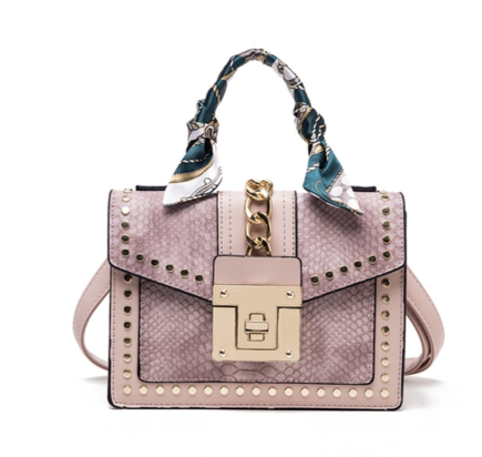 La Mia Cara Jewelry - Pink Donna d'Affari- Leather Strap Flap Chain Crocodile Crossbody Bags