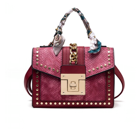 La Mia Cara Jewelry - Burgundy Donna d'Affari- Leather Strap Flap Chain Crocodile Crossbody Bags