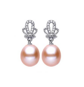 La Mia Cara Jewelry - Perla Di Principessa Pink - Freshwater Pearls Sterling Silver Crown Earrings