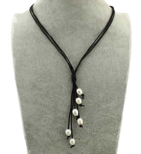 Perla Nelli - White Freshwater Pearls Black Leather Necklace