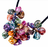 La Mia Cara - Perla Mirabella -Fancy Multicolor -Shell Flower Cultured Pearl Necklace Leather