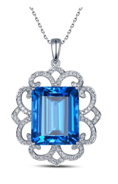 La Mia Cara Jewelry - Davida - Blue Topaz Diamond White Gold Pendant