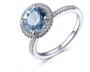 La Mia Cara Jewelry - Davida - Blue Topaz Diamond White Gold Cocktail Ring
