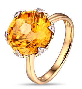 La Mia Cara Jewelry -  Favo - Citrine Diamond Rose Gold Cocktail Ring