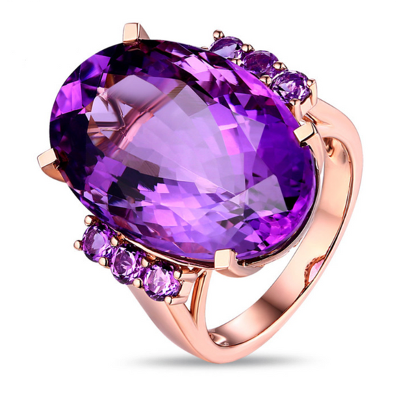 La Mia Cara Jewelry - Chiara - Amethyst  Rose Gold Cocktail Ring