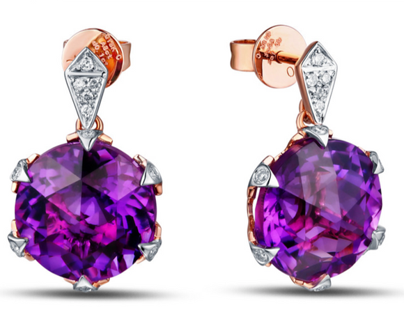 La Mia Cara Jewelry - Chiara - Amethyst Rose Gold Stud Earrings