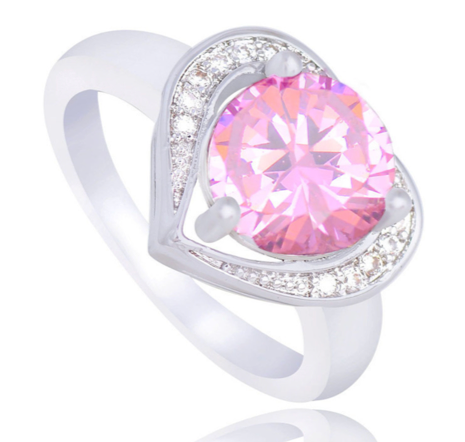La Mia Cara Jewelry -Cuore Rosa -Pink CZ Diamond Ring