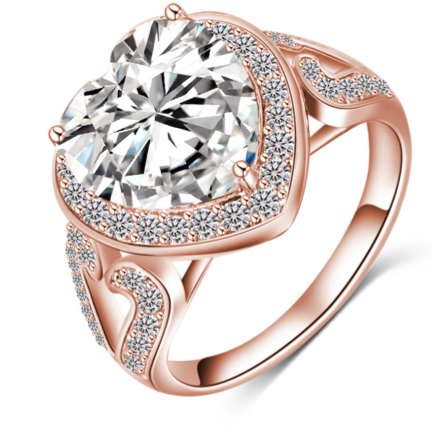 Cocktail Ring -Amore Mio - CZ Diamond Platinum / Rose Gold  - LA MIA CARA JEWELRY