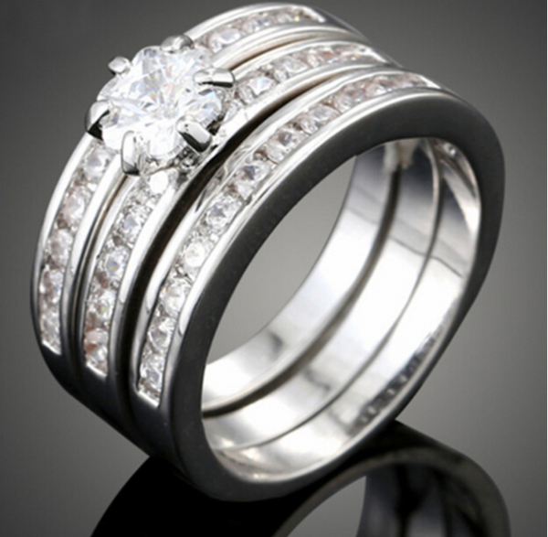 La Mia Cara Jewelry - Arlecchino - 3 in 1 CZ White Gold Plated Engagement Wedding Band Rings