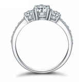 La Mia Cara Jewelry & Accessories- Amore Promessa - Three Stone CZ Diamond 925 S Silver Engagement Ring