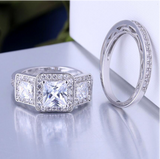 La Mia Cara Jewelry - Aurora - White Gold Princess Diamond Cut Engagement Wedding Ring Set