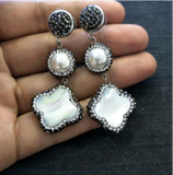 La Mia Cara Jewelry -  Alia - Nature Pearl Long Earrings with Rhinestone