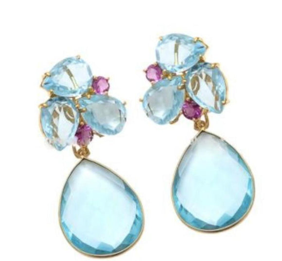 Maya - Hydro Gemstone-Blue Topaz  & Pink Tourmaline Drop Earring