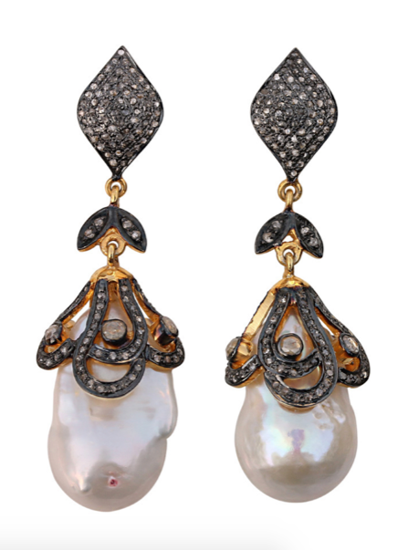 La Mia Cara Jewelry - Rani - Nature Pearl - Diamond -Gemstone - Gold Earrings