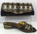 La Mia Cara Jewelry - Calandra -4 Colors Matching Clutch & Shoe - Sliver & Gold Decorated with Rhinestone Wedding Shoes