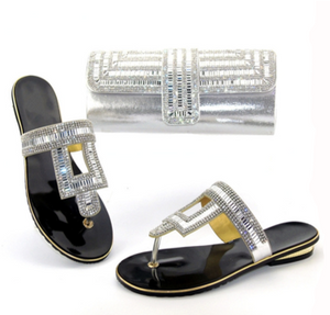 La Mia Cara Jewelry - Apoline - Sliver & Gold with Rhinestones Matching Clutch & Shoe