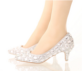 Dolce Sposa - Bride White Crystal Shoes - 8 Heel Variants Wedding Shoes