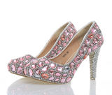 Dolce Sposa - Bride Pink Crystal Shoes - 5 Heel Variants Wedding Shoes