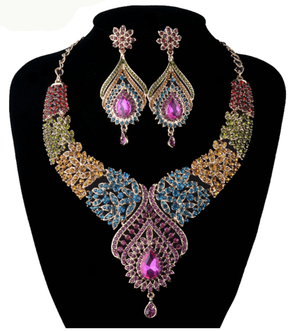 La Mia Cara Jewelry - Sita Devi 1 -Magical Maharani Jewels - Crystal Necklace & Earrings Set