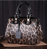 La Mia Cara  - Deanna - Leopard Pattern Genuine Leather Handbag