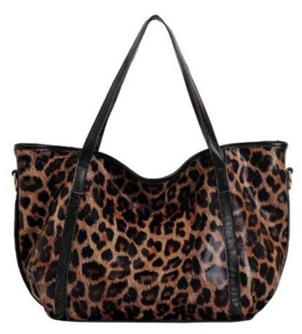 La Mia Cara -Belle - Genuine Leather Handbag Leopard Pattern Shoulder Bag