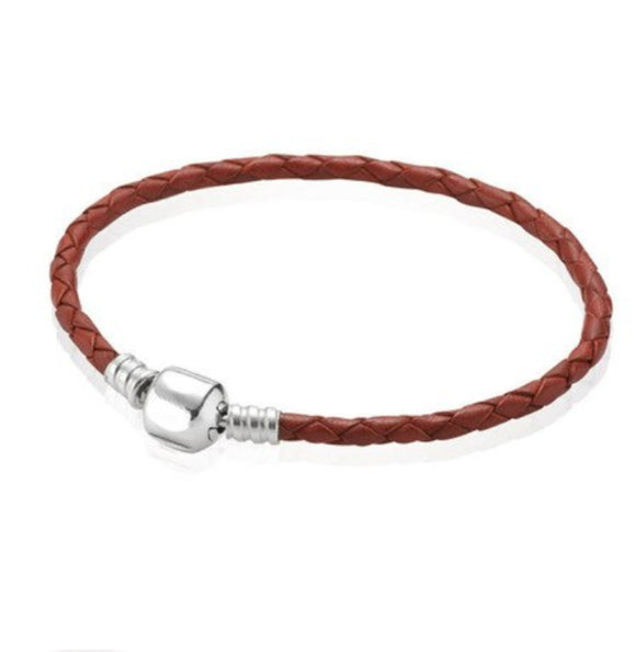Orso- Brown Leather with Silver Clip Pandora Style Bracelet