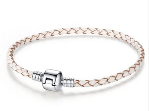 Orso- White Leather with Silver Clip Pandora Style Bracelet
