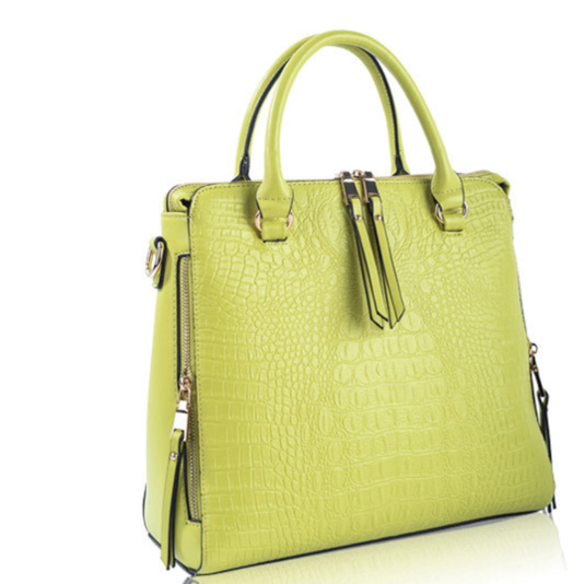 LIME BRUNILDE - LEATHER CROCODILE FASHION DESIGN LOOK VINTAGE BAG