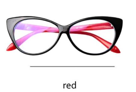 Presbyopic Berlin  Black-Red -  Cat Eye Anti Blue Light Reading Glasses