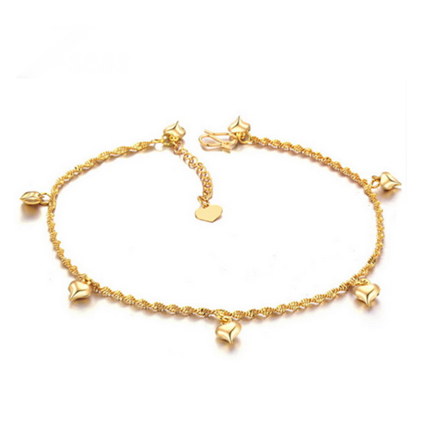 real gold anklet ankle for bracelet clover leaf pearl women goldfd four abarbaree anklets