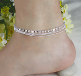 La Mia Cara Jewelry & Accessories - Semplice Eleganza - 4 Layers Crystal Beads Silver Beach Anklet