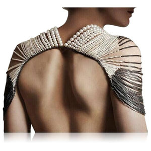 Serata Di Gala - White Pearls & Gray Chains Shoulder Body Jewelry - LA MIA CARA JEWELRY - 1