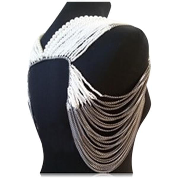Serata Di Gala - White Pearls & Gray Chains Shoulder Body Jewelry - LA MIA CARA JEWELRY - 2