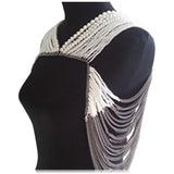 Serata Di Gala - White Pearls & Gray Chains Shoulder Body Jewelry - LA MIA CARA JEWELRY - 3