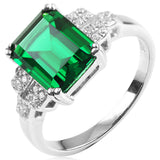 Statement Ring - Sergio - Emerald Silver Ring - La Mia Cara Jewelry