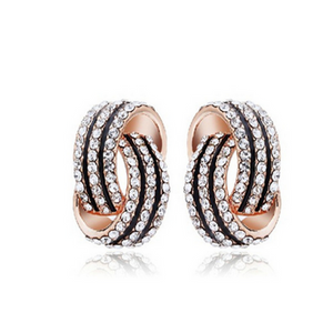 La Mia Cara Jewelry & Accessories - Serina - Rhinestone Crystals Gold / Silver Statement Earrings