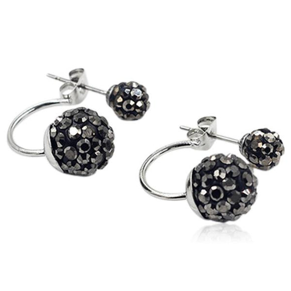 Shamballa - Crystal Balls Stainless Steel Stud Earrings - LA MIA CARA JEWELRY - 11