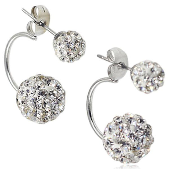 Shamballa - Crystal Balls Stainless Steel Stud Earrings - LA MIA CARA JEWELRY - 10