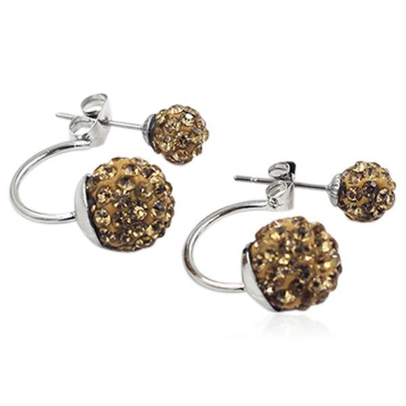 Shamballa - Crystal Balls Stainless Steel Stud Earrings - LA MIA CARA JEWELRY - 9