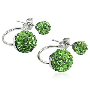 Shamballa - Crystal Balls Stainless Steel Stud Earrings - LA MIA CARA JEWELRY - 8