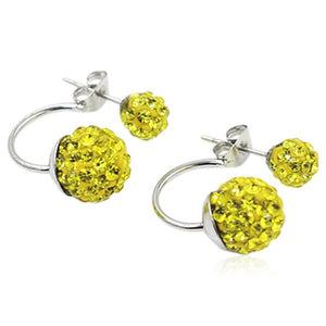 Shamballa - Crystal Balls Stainless Steel Stud Earrings - LA MIA CARA JEWELRY - 7