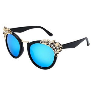 La Mia Cara Jewelry - Miami Blue - Adorable Round Frame Sunnies with Flower Rhinestone Decoration Sunglasses UV 400