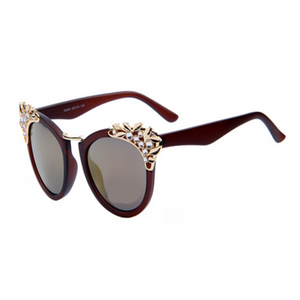 La Mia Cara Jewelry - Miami Brown - Adorable Round Frame Sunnies with Flower Rhinestone Decoration Sunglasses UV 400
