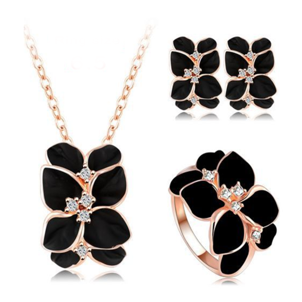 Sienna - Swarovski Crystal Rose Gold Enamel Earring & Necklace & Ring Set - LA MIA CARA JEWELRY - 1