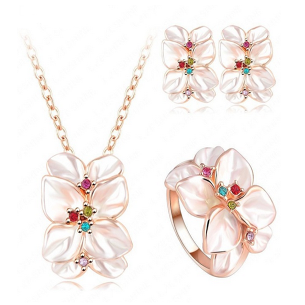 Sienna - Swarovski Crystal Rose Gold Enamel Earring & Necklace & Ring Set - LA MIA CARA JEWELRY - 2
