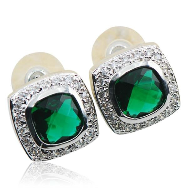 Sina - Emerald Sterling Silver Stud Earrings - LA MIA CARA JEWELRY