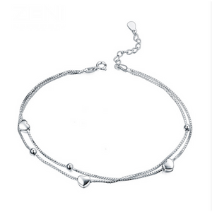 Sogni - Heart Shape Sterling Silver Anklet - LA MIA CARA JEWELRY
