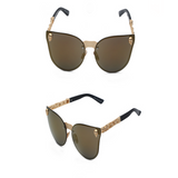La Mia Cara - ST. TROPEZ BROWN - CAT EYE MODERN FLAT MIRROR LENS HORNED RIM SUNGLASSES UV400